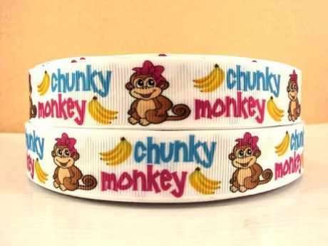 1 METRE OF CHUNKY MONKEY RIBBON SIZE 7/8 HEADBANDS HAIR BOWS